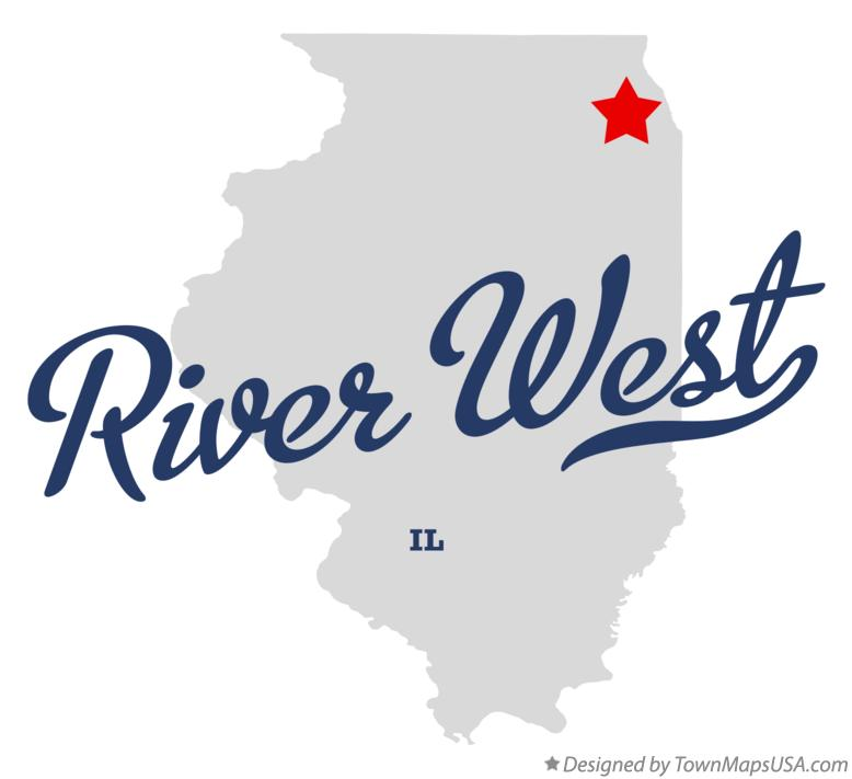 Map of River West Illinois IL