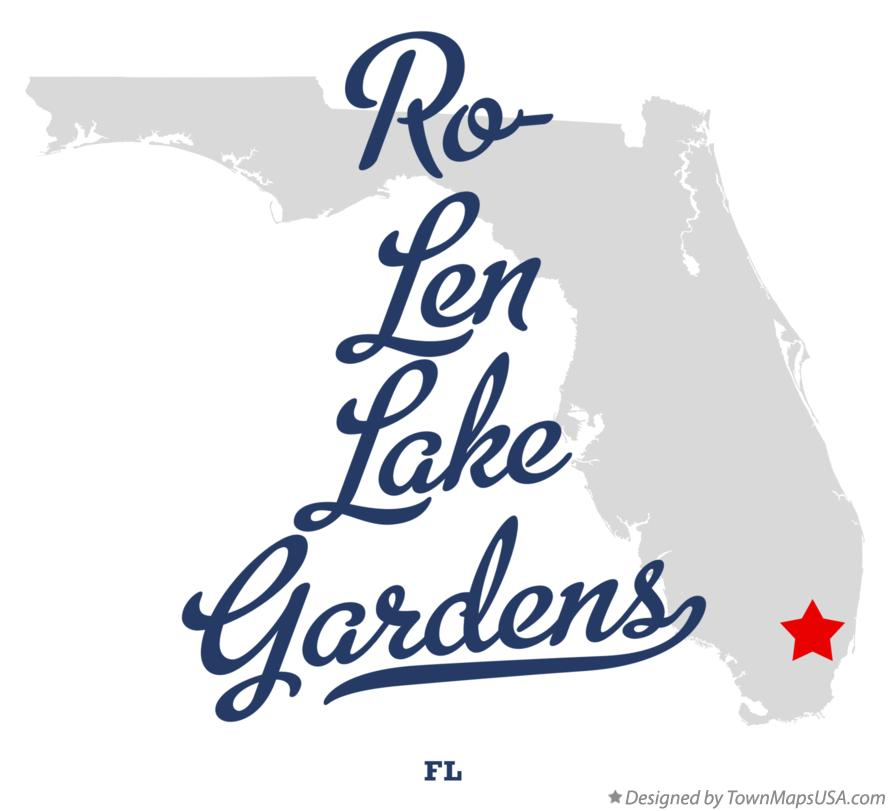 Map of Ro-Len Lake Gardens Florida FL
