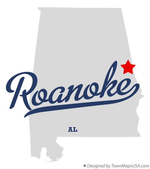 Map of Roanoke Alabama AL