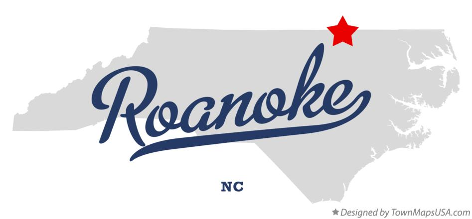 Map of Roanoke North Carolina NC