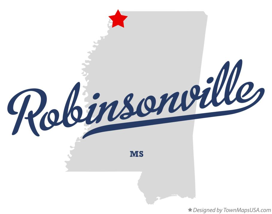 Map of Robinsonville Mississippi MS