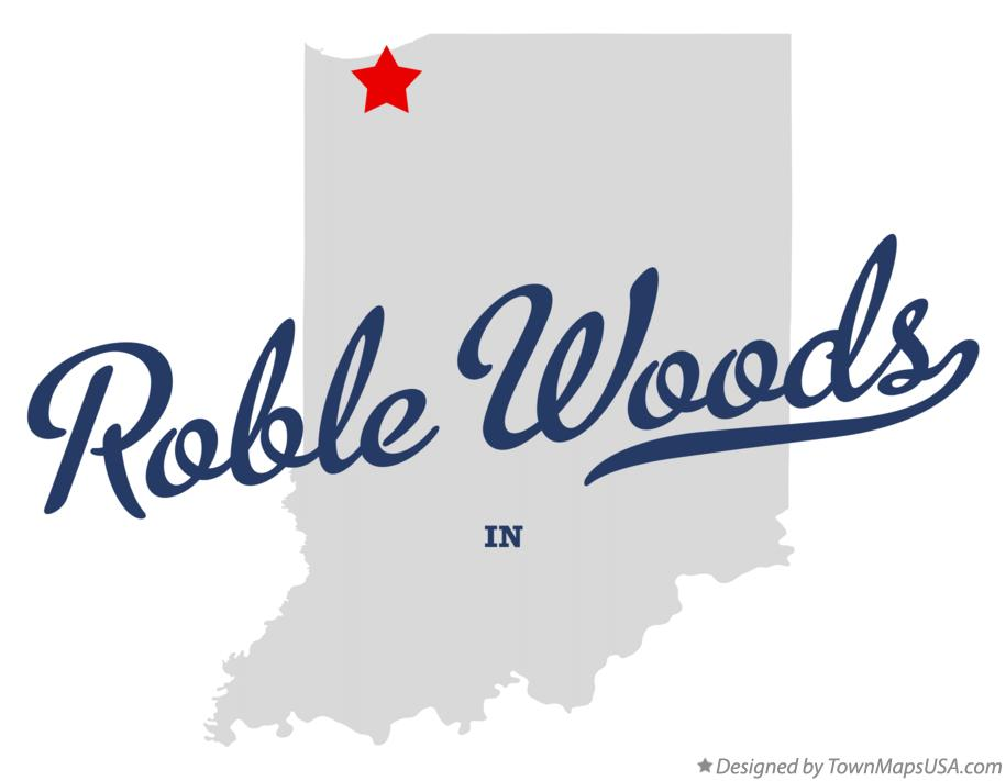 Map of Roble Woods Indiana IN
