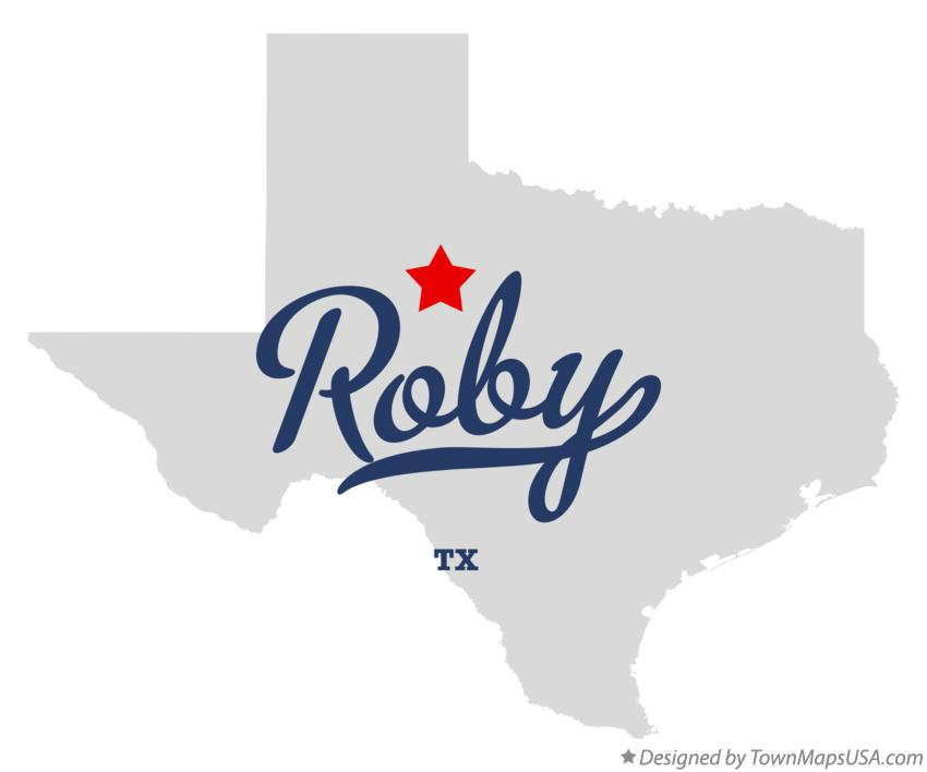 Map of Roby Texas TX
