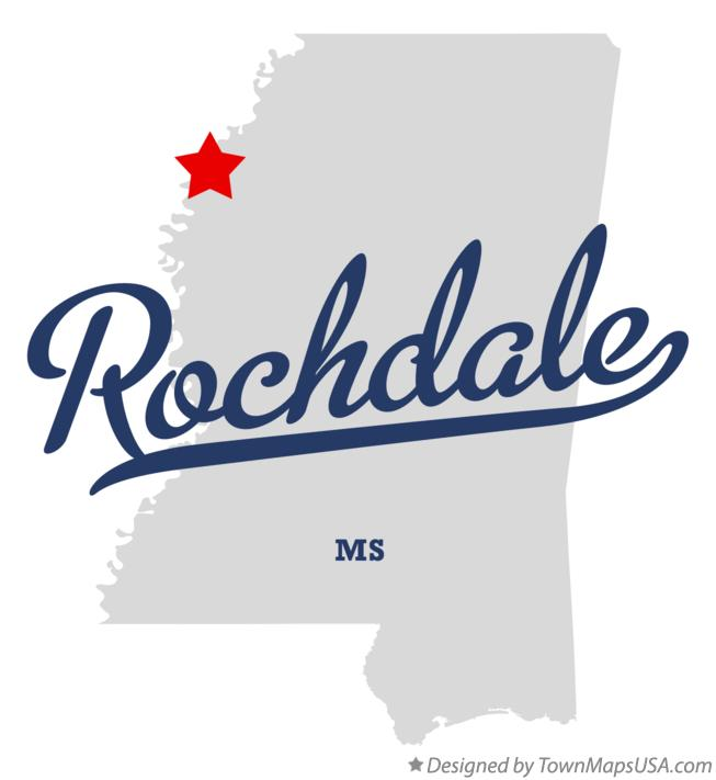 Map of Rochdale Mississippi MS