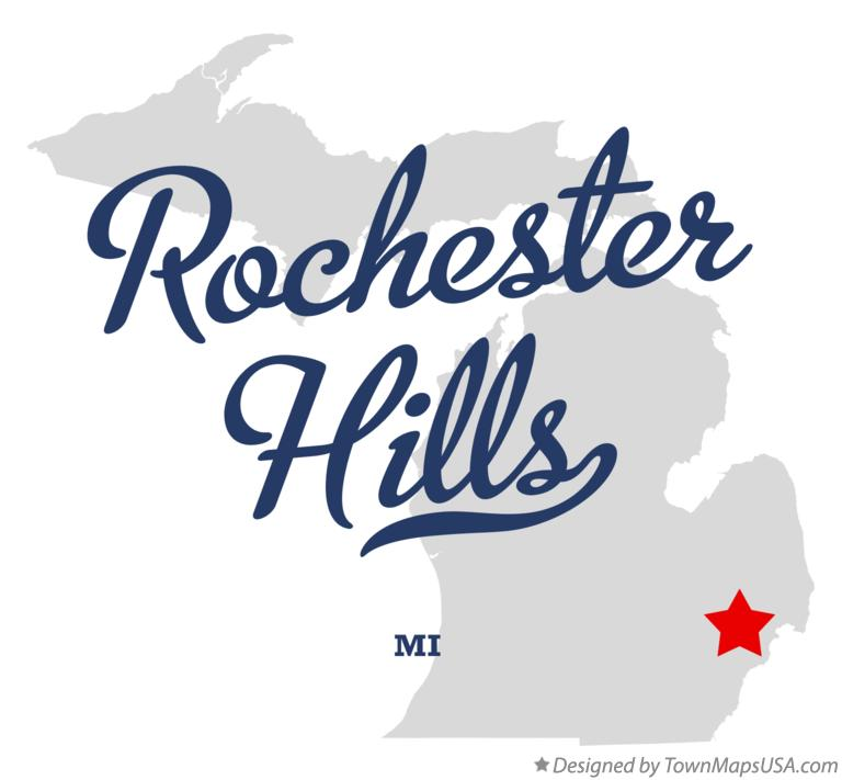 Map of Rochester Hills Michigan MI