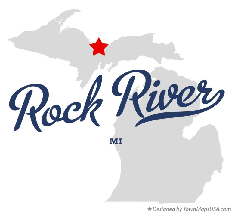 Map of Rock River Michigan MI