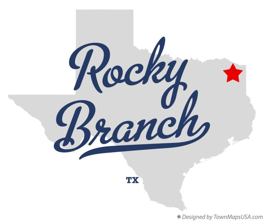 Map of Rocky Branch Texas TX