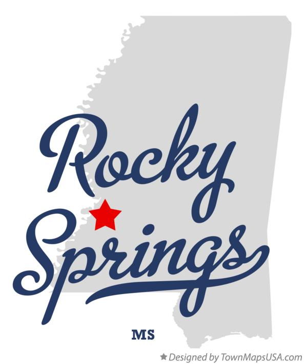 Map of Rocky Springs Mississippi MS