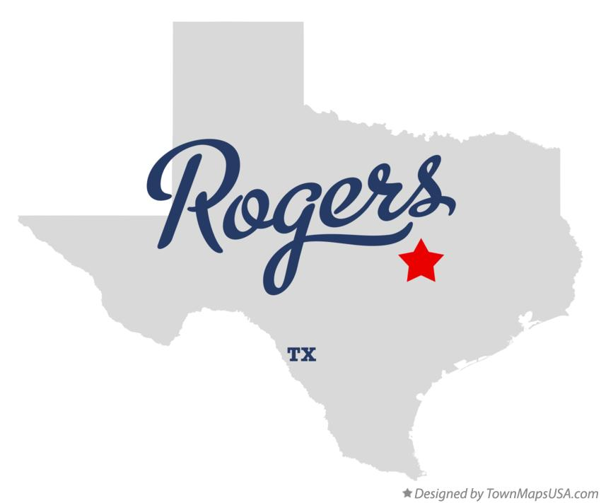 Map of Rogers Texas TX