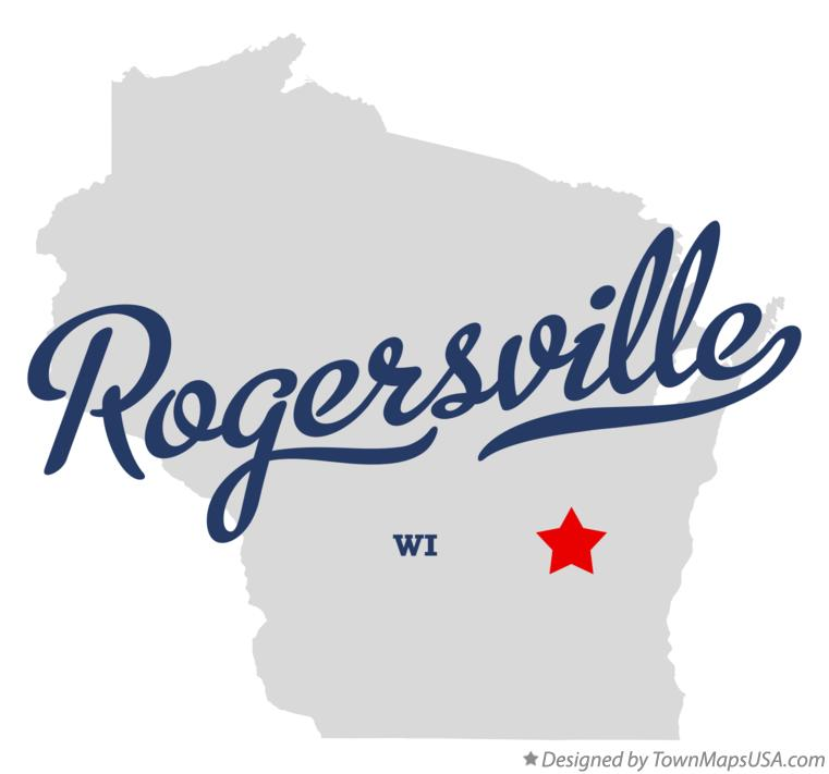 Map of Rogersville Wisconsin WI