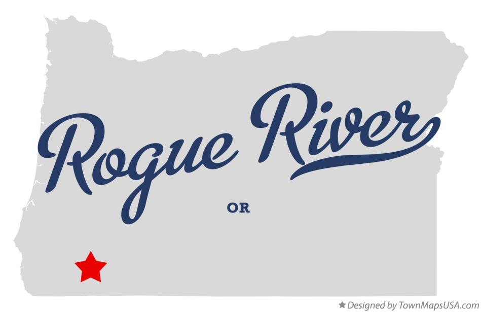 Map of Rogue River Oregon OR