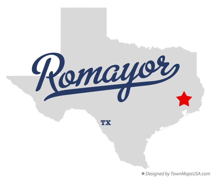Map of Romayor Texas TX