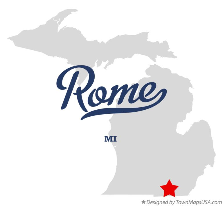 Map of Rome Michigan MI