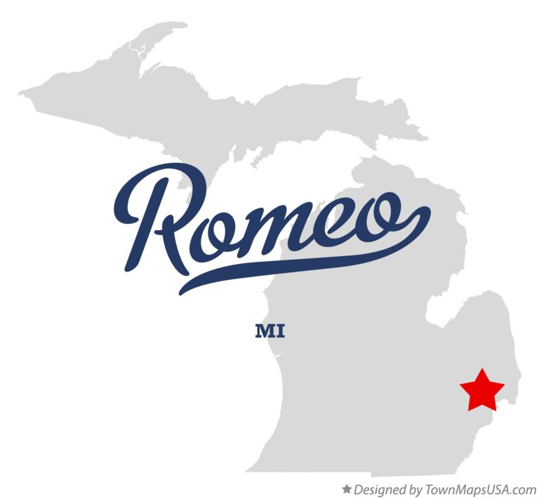 Map of Romeo, MI, Michigan