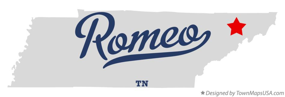 Map of Romeo Tennessee TN