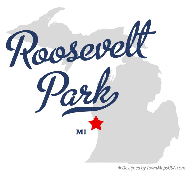 Map of Roosevelt Park Michigan MI