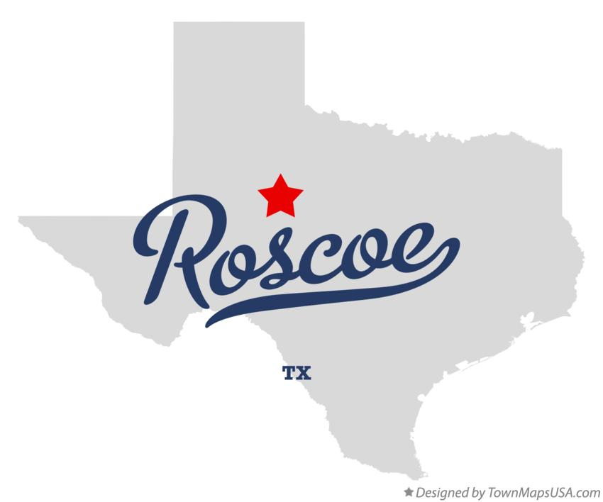 Map of Roscoe Texas TX
