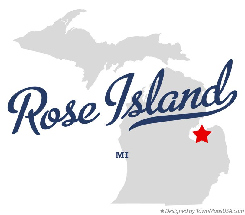 Map of Rose Island Michigan MI