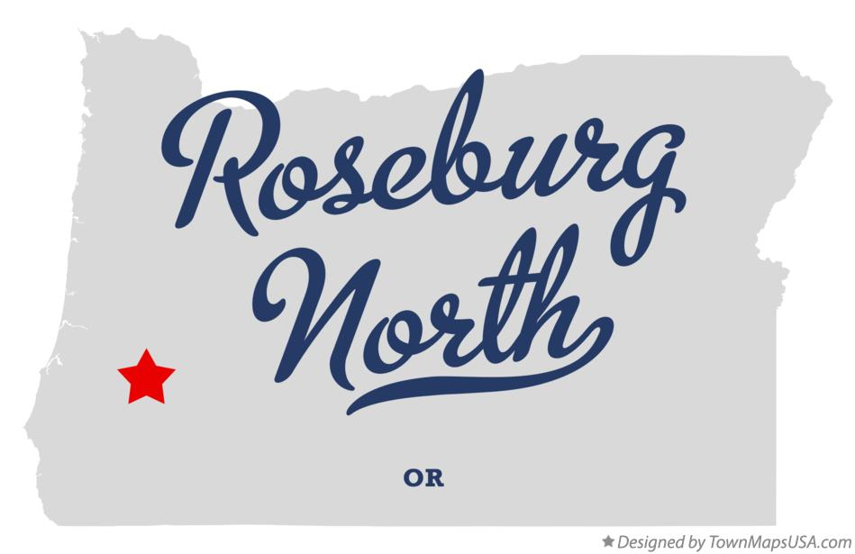 Map of Roseburg North Oregon OR