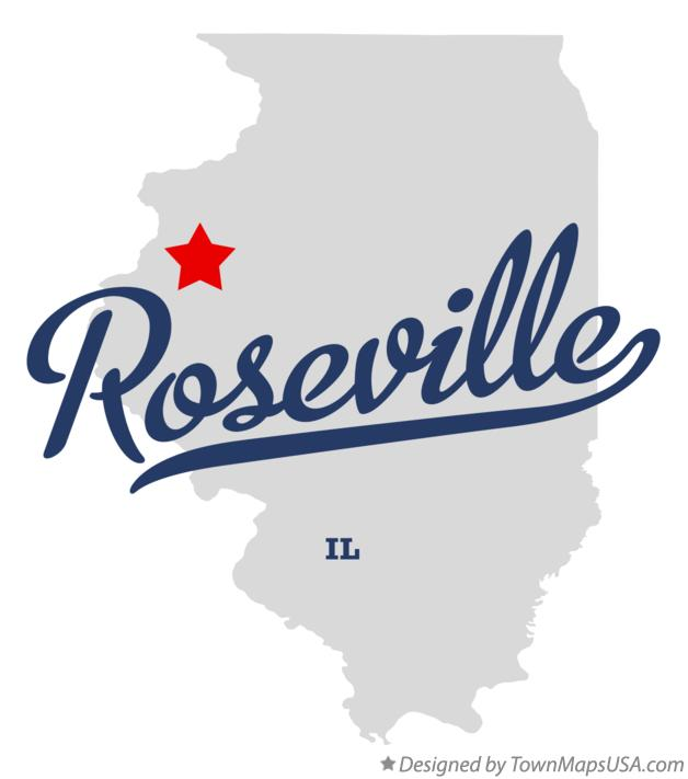 Map of Roseville Illinois IL