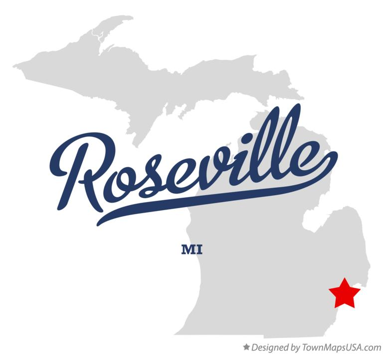 Map of Roseville Michigan MI