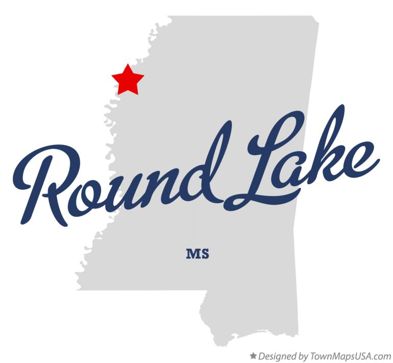 Map of Round Lake Mississippi MS