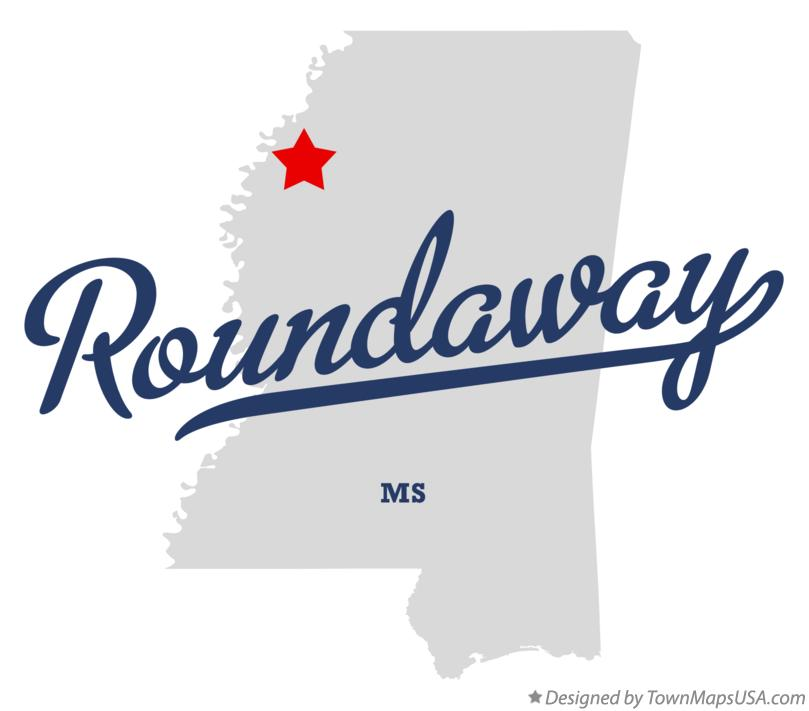 Map of Roundaway Mississippi MS