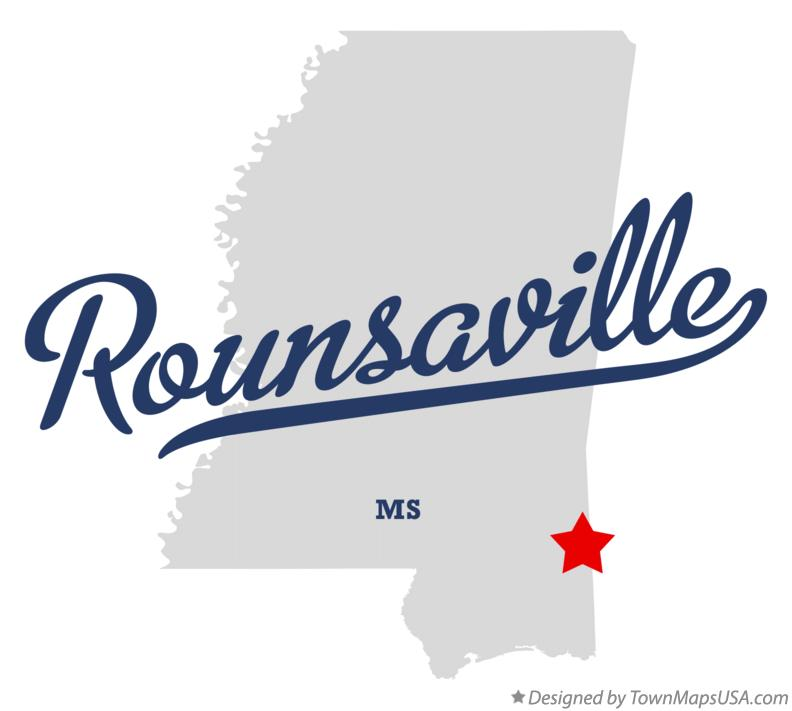 Map of Rounsaville Mississippi MS