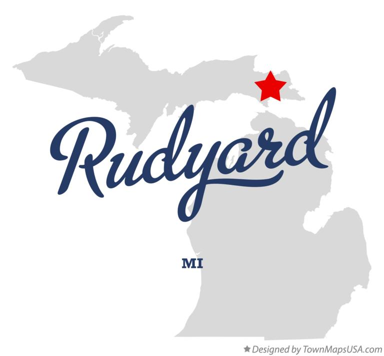 Map of Rudyard Michigan MI