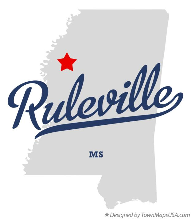 Map of Ruleville Mississippi MS