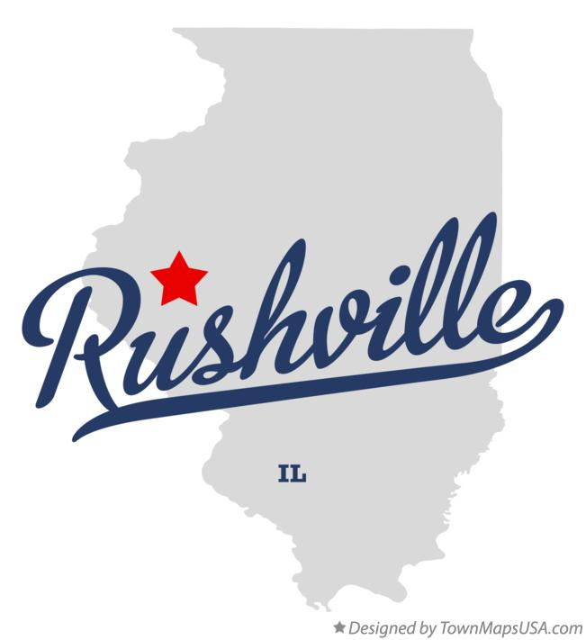 Map of Rushville Illinois IL