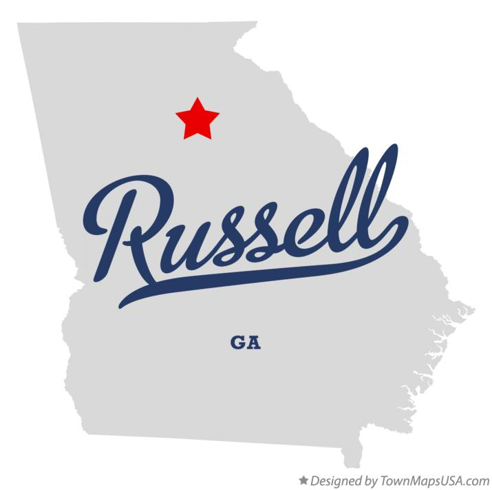 Map of Russell Georgia GA