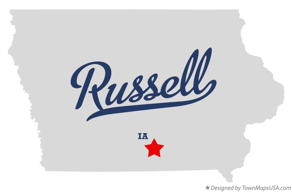 Map of Russell Iowa IA