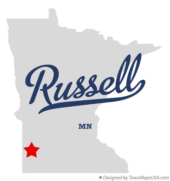 Map of Russell Minnesota MN