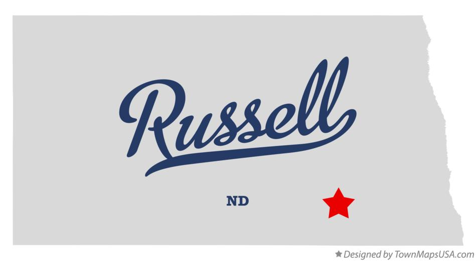 Map of Russell North Dakota ND