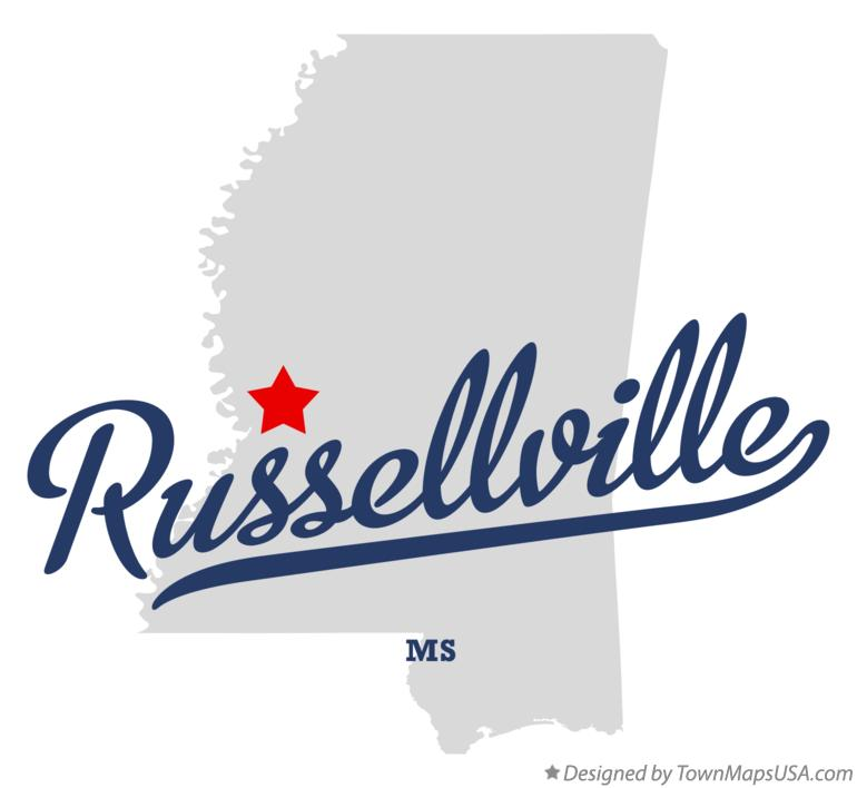 Map of Russellville Mississippi MS