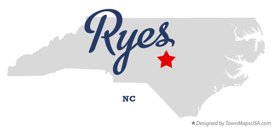 Map of Ryes North Carolina NC