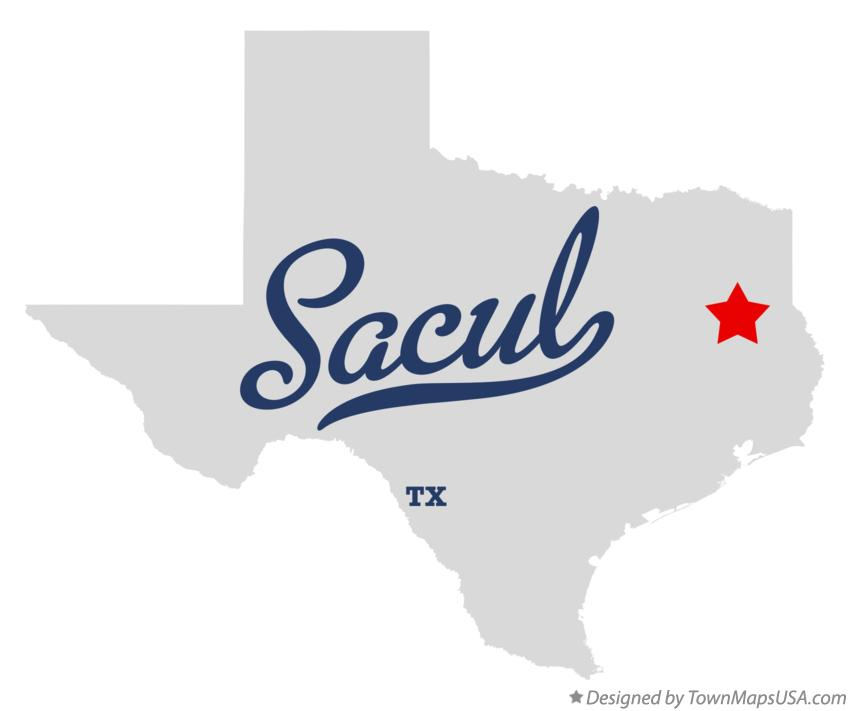 Map of Sacul Texas TX