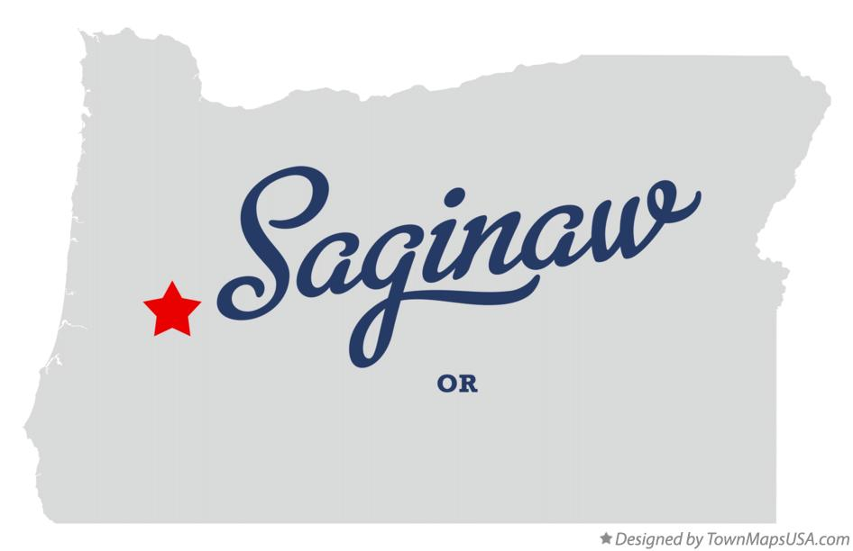 Map of Saginaw Oregon OR
