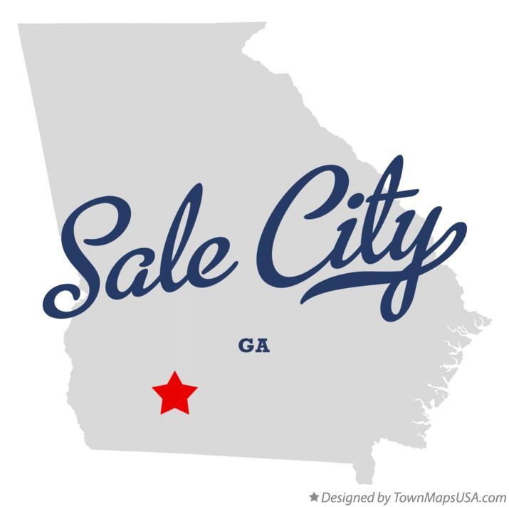 Map of Sale City, GA, Georgia City Maps For Sale on