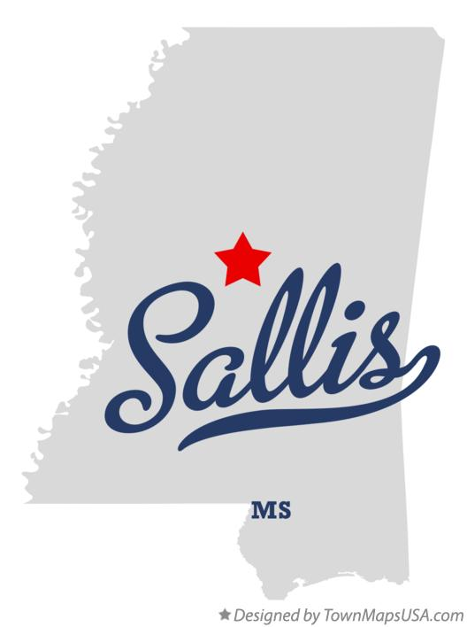 Map of Sallis Mississippi MS