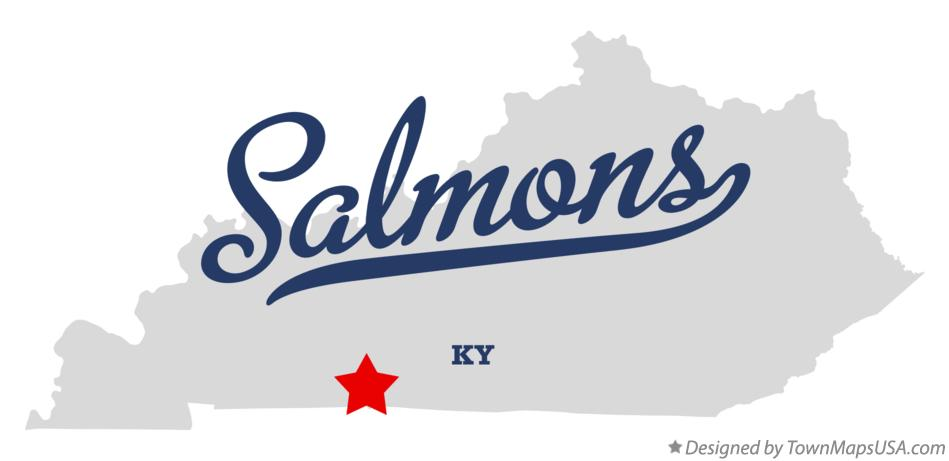 Map of Salmons Kentucky KY