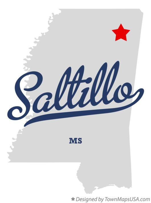 Map of Saltillo Mississippi MS