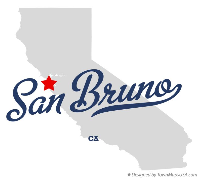 Map of San Bruno California CA
