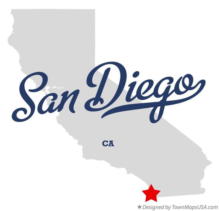 Map of San Diego California CA