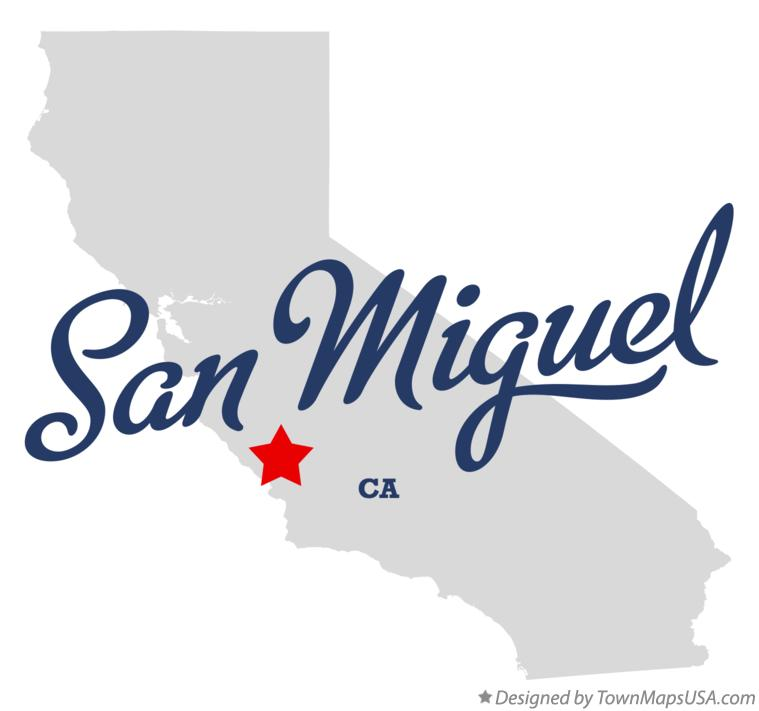 Map of San Miguel California CA
