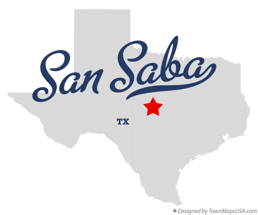 Map of San Saba Texas TX