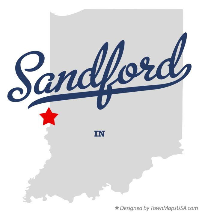Map of Sandford Indiana IN