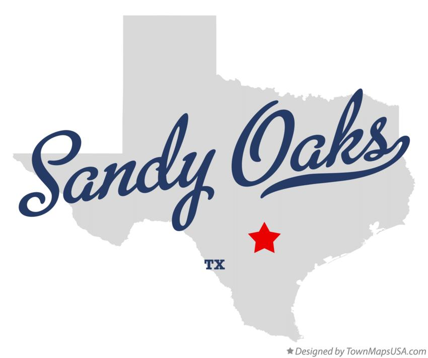 Map of Sandy Oaks Texas TX