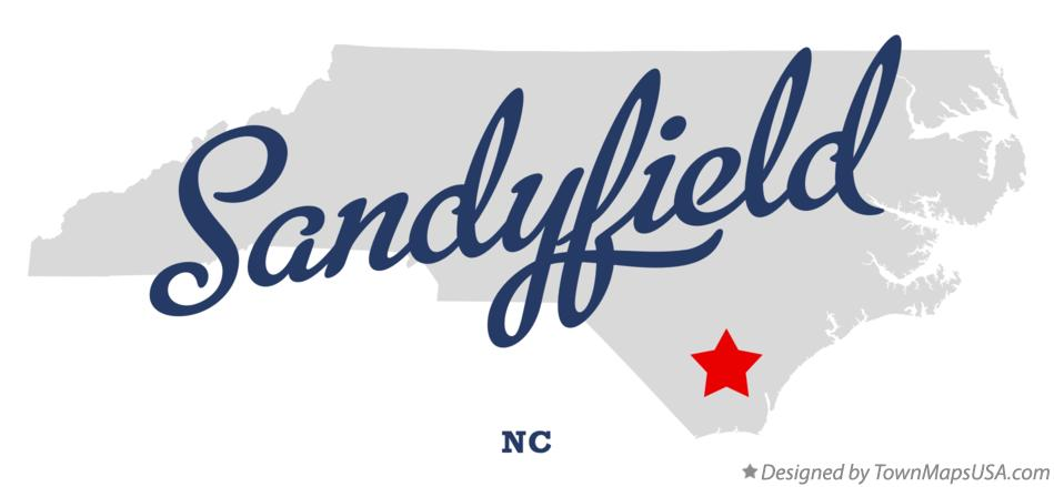 Map of Sandyfield North Carolina NC